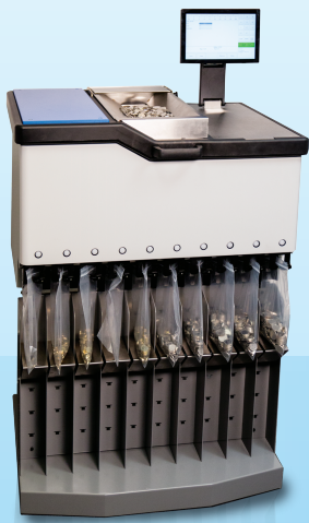 SuzoHapp ICX Active-9 Coin Sorter Processing Coins.
