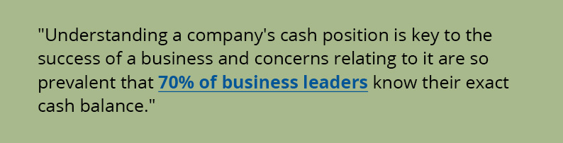Understanding a companys cash position is key to the success of a business and concerns relating to it are so prevalent that 70% of business leaders know their exact cash balance.